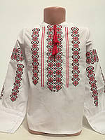 Детская белая блузка для девочки с красной вышивкой Ручеек Piccolo L