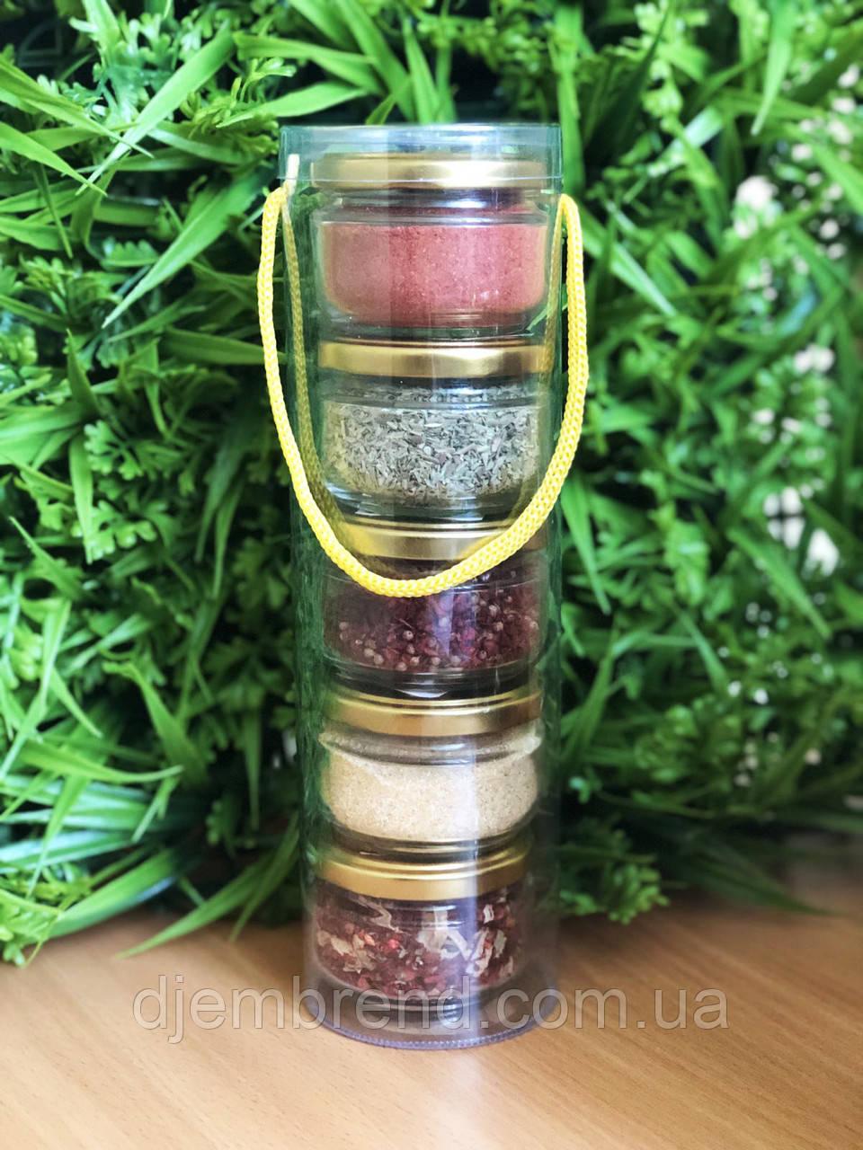 Подарочный набор из специй : орегано, сванская соль, для шашлыка, чеснок, для первых блюд