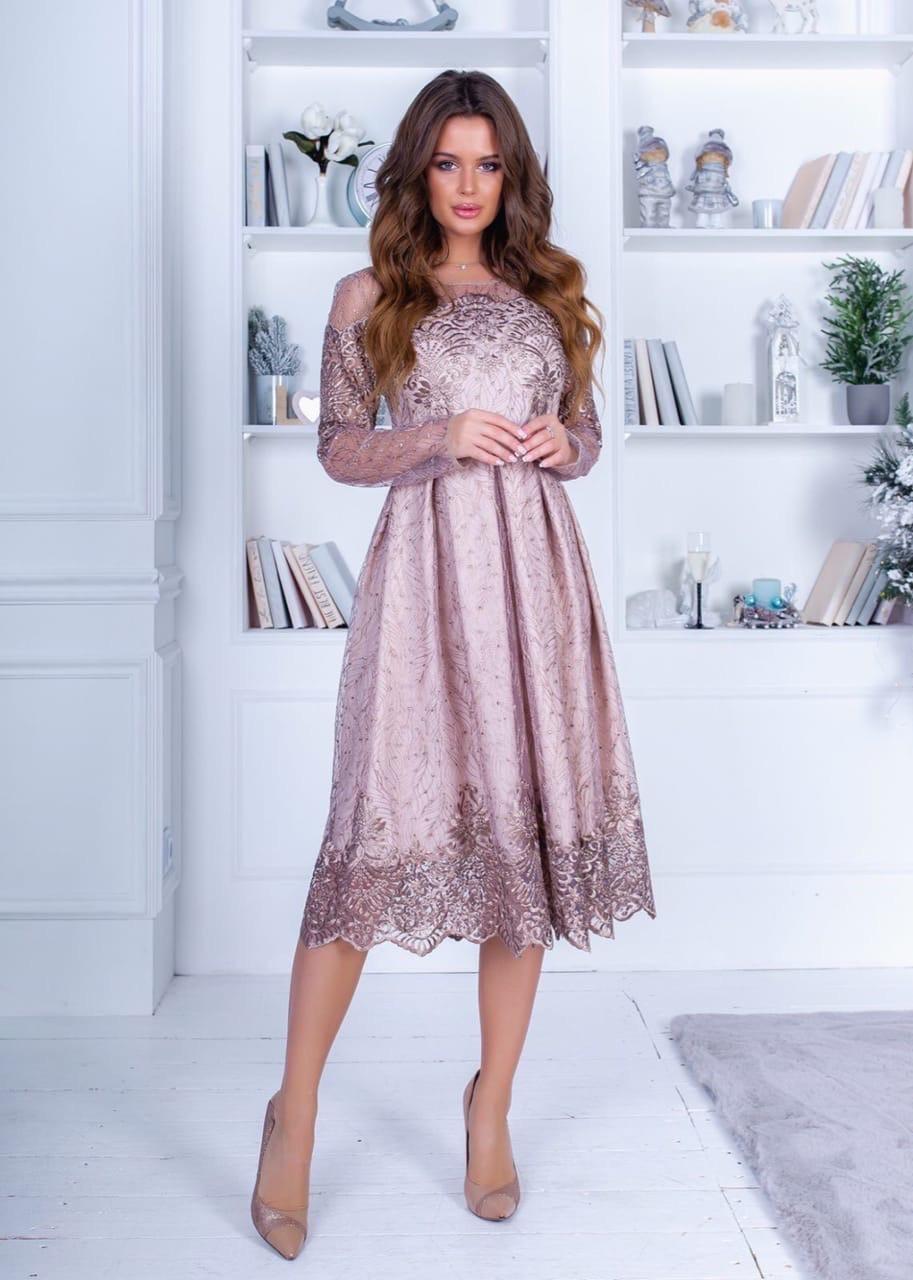 Сукня міді мереживо в кольорах 74207А