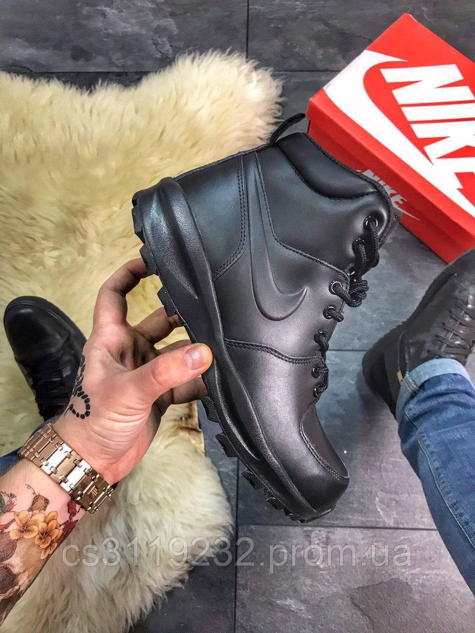 Мужские кроссовки Nike Manoa Leather Black (термо)(черные)