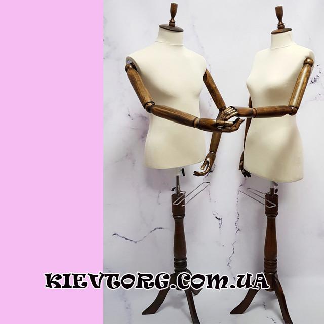 Манекен женский торс с деревянными руками витринный для магазина одежды (темный орех) (+Видео)