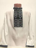 Детская белая хлопковая рубашка для мальчика с вышивкой Тадей Piccolo L
