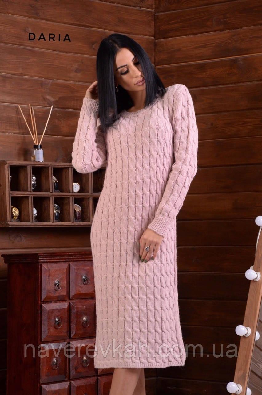 Женское платье вязка чёрный бежевый горчица пудра 42-46