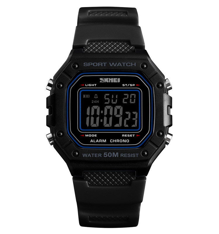 Skmei 1496 черные с черным циферблатом мужские спортивные часы