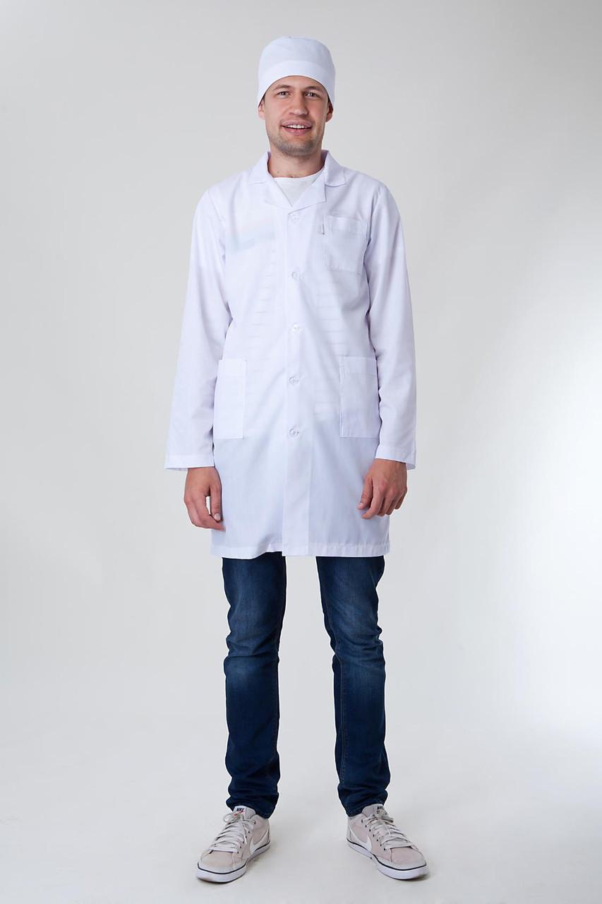 Медицинский мужской хлопковый белый халат 2148 ( батист 42-60 р-р )