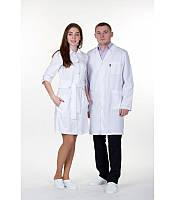 Мужской медицинский белый халат ткань коттон 1347 ( 40-64 р-р )