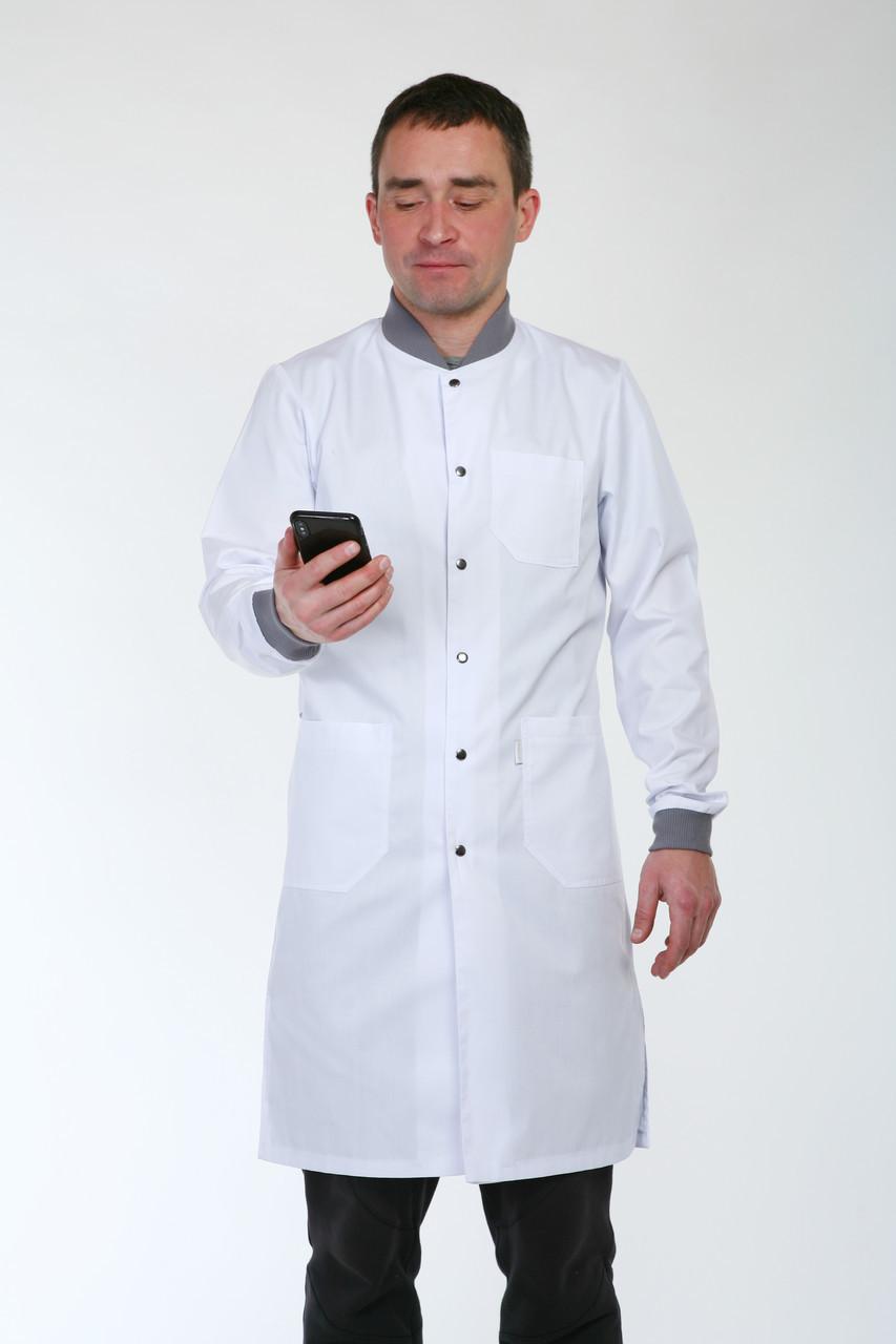Мужской медицинский халат с серым воротником и манжетами 3142 ( коттон 42-56 р-р )