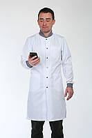 Мужской медицинский халат с серым воротником и манжетами 3142 ( коттон 42-56 р-р ), фото 1