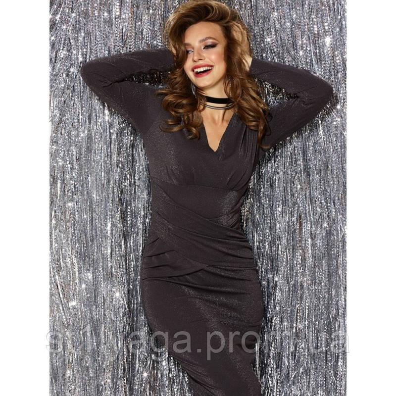 Блестящее вечернее платье из люрекса с длинным рукавом