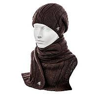 Комплект шапка и шарф цвет коричневый