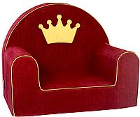 Мягкое кресло в детскую комнату «Корона» с вышивкой имени ребенка, красный