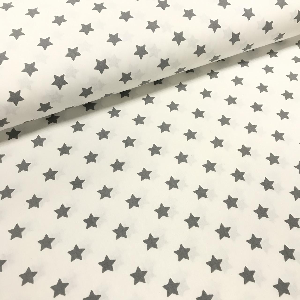 Ткань поплин звезды графитовые на белом средние (ТУРЦИЯ шир. 2,4 м)