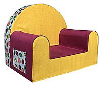 Мягкое детское кресло «Funny colours», малиново-желтое