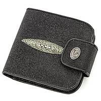 Горизонтальный кошелек STINGRAY LEATHER 18561 из натуральной кожи морского ската Черный, КОД: 1315324