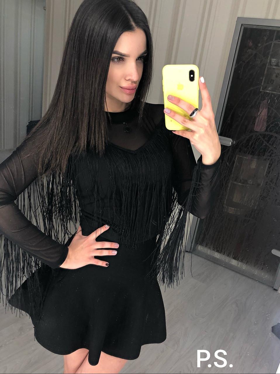 Женская черная блуза из сетки с трикотажем и бахрамой 76bir320