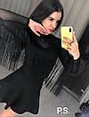 Женская черная блуза из сетки с трикотажем и бахрамой 76bir320, фото 2