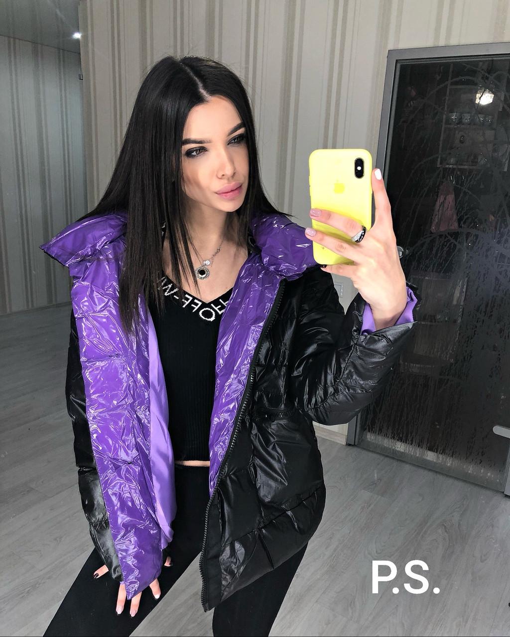 Женская черная глянцевая зимняя куртка пуховик с контрастной стороной 76kur214