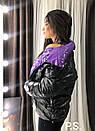 Женская черная глянцевая зимняя куртка пуховик с контрастной стороной 76kur214, фото 3