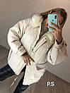 Женская парка зимняя на пуху и с меховой опушкой на капюшоне 76kur215, фото 3