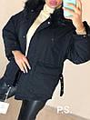 Женская парка зимняя на пуху и с меховой опушкой на капюшоне 76kur215, фото 4