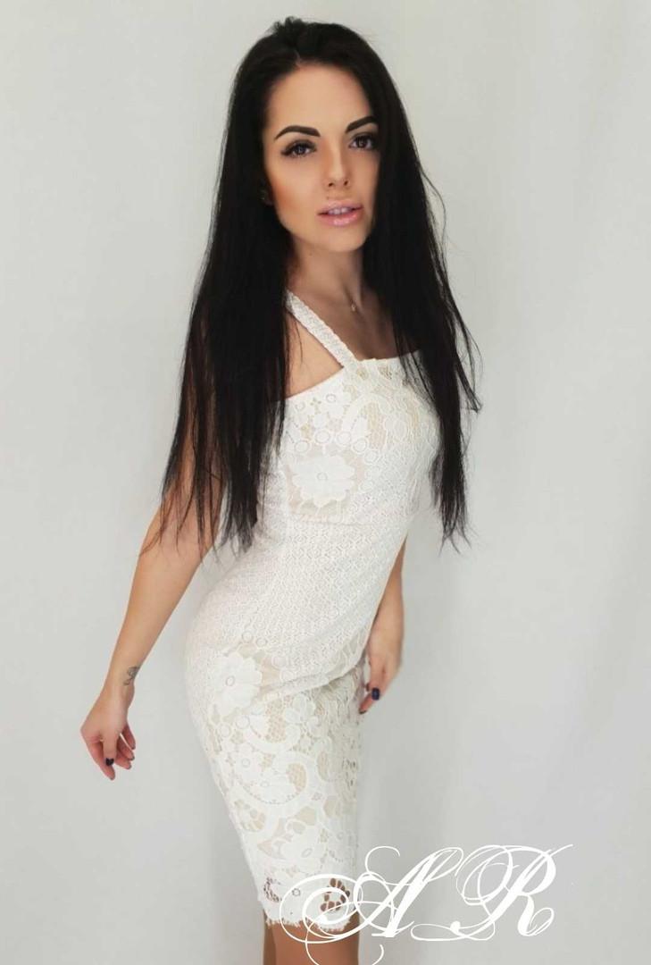 Кружевное платье футляр на бретелях с квадратным вырезом 79plt573