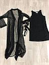 Черное платье с длинным кардиганом из сетки с декором 79plt575, фото 2