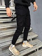 Мужские зимние спортивные штаны карго спортивки черные теплые. Живое фото. Реплика
