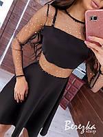 Плаття чорне з расклешеннйо спідницею і вставками сітки на талії і рукавах 68mpl620Q