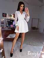 Пышной короткое платье из сетки с верхом на запах и длинным рукавом 66mpl637E