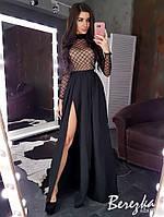Длинное платье с верхом из сетки в ромбик и разрезом на ноге 66mpl645E