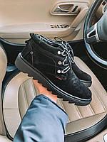 Мужские зимние ботинки черные замша Lg3