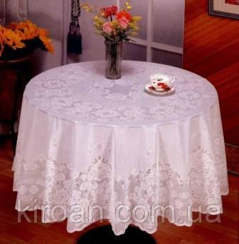 Белая виниловая скатерть на круглый стол,размер диаметр 180 см (цвет - белый), фото 2