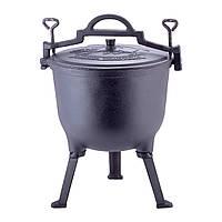Казан чугунный эмалированный 10л с крышкой  Kamille на ножках для приготовления пищи на огне и плите