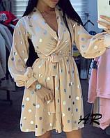 Платье в горошек с верхом на запах и расклешенной юбкой 79plt578