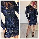 Гипюровое нарядное платье с пайеткой и длинным рукавом 79plt582, фото 2