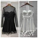 Платье с расклешенной юбкой и сеткой с блестками и жемчугом сверху 79plt584, фото 2