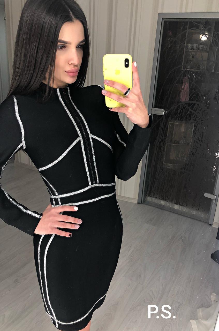 Черное утягивающее платье - футляр с серебрянной отделкой и молнией на груди 76plt600