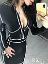Черное утягивающее платье - футляр с серебрянной отделкой и молнией на груди 76plt600, фото 2