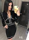 Черное утягивающее платье - футляр с серебрянной отделкой и молнией на груди 76plt600, фото 3