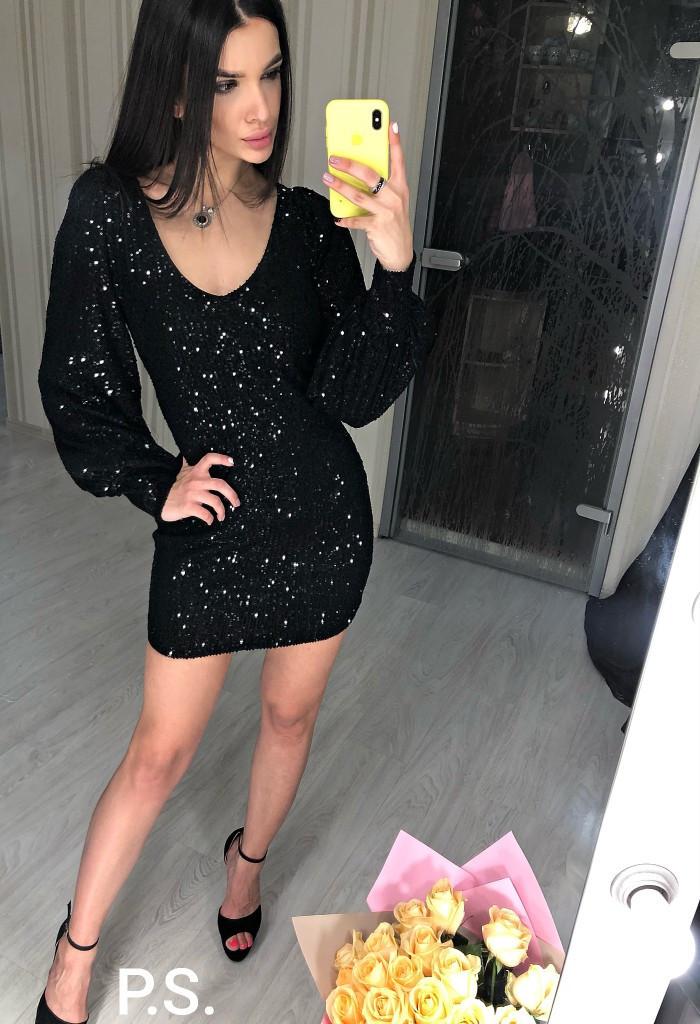 Платье из пайетки с рукавом фонариком и вырезом декольте 76plt605