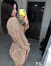 Платье из пайетки с рукавом фонариком и вырезом декольте 76plt605, фото 3