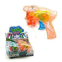 """Пистолет с подсветкой, пускающий пузыри """"Динозавр"""" (оранжевый) 3F-8"""