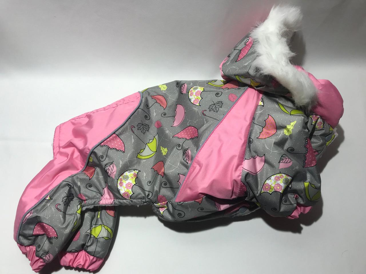 Комбінезон хутро 25 см разм 0 Парасолька рожевий  для собак