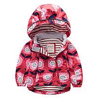 Детская куртка для девочки демисезонная короткая красная с принтом Цветы Meanbear
