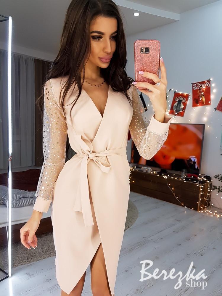Платье футляр на запах с рукавами из сетки с принт 68plt621Q