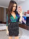 Платье с верхом из пайетки на запах с декольте и юбкой из бахрамы 68plt623Q, фото 5