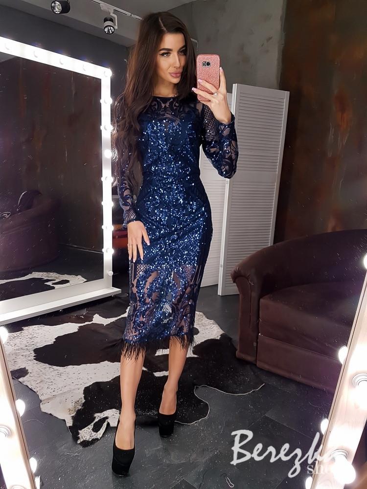 Нарядное платье из сетки с пайеткой и длинным рукавом 68plt628Q