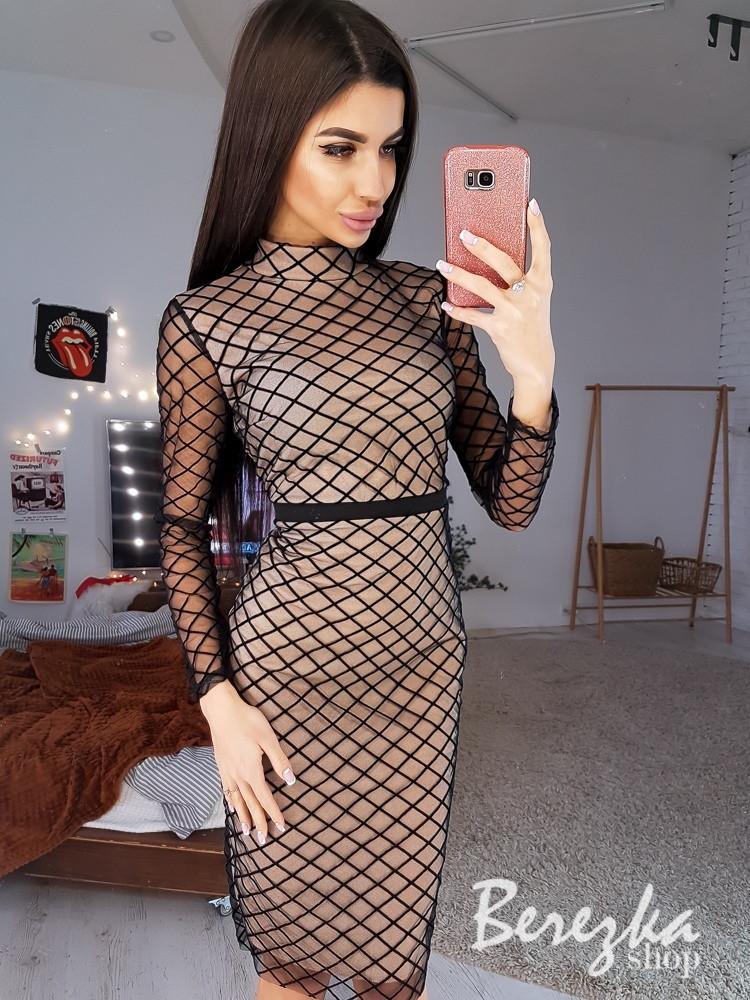 Платье футляр из сетки в ромбик с длинным рукавом 68plt629Q