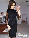 Платье футляр из сетки в ромбик с длинным рукавом 68plt629Q, фото 2