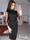 Платье футляр из сетки в ромбик с длинным рукавом 68plt629Q, фото 4